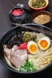 Japanese ramen noodles. Japanese tonkotsu ramen, pork bone broth noodles Royalty Free Stock Photo