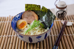 Japanese ramen. With onsen egg and seaweed Stock Photo