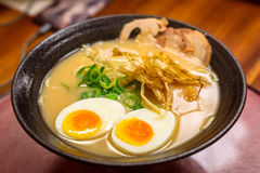 Japanese ramen soup with eggs Stock Images