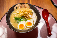 Japanese ramen soup with eggs Stock Image