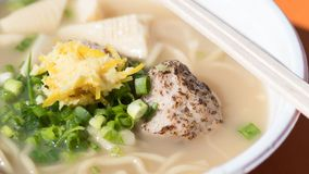 Japanese ramen soup wiht noudels,green onion,meat. Close-up.  royalty free stock photos
