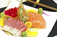 Japanese raw fish dish. With very nice arrangement Royalty Free Stock Image