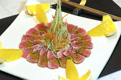 Japanese raw fish dish. With very nice arrangement Stock Photos