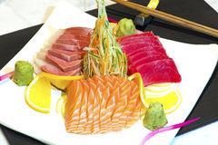 Japanese raw fish dish. With very nice arrangement Royalty Free Stock Photo