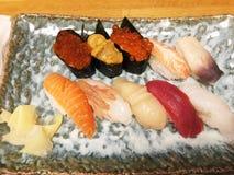 Japanese raw sushi. In the restaurant in Otaru, Hokkaido Royalty Free Stock Images