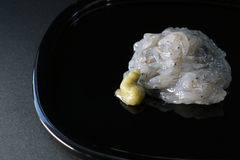Japanese raw whitebait meal on black Royalty Free Stock Images