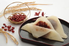 Japanese Red Bean Paste Sweets, Japanese Food. Sweet made with bean paste Yatsuhashi local delicacy in Kyoto, Japan; cinnamon-seasoned steamed dough made from Royalty Free Stock Photos