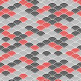 Japanese red black and gray ocean wave pattern Royalty Free Illustration