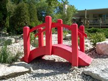 Japanese Red Bridge. Decorate the entrance to an upscale import establishment in Door County, Wisconsin Stock Photo