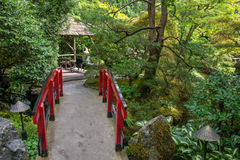Japanese red bridge at Butchart Gardens, Victoria, Canada Stock Image