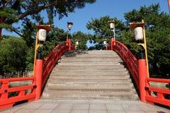 Japanese red bridge in Sumiyoshi stock photo