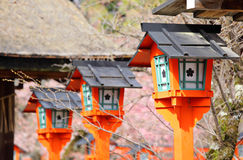 Japanese red lantern in temple Stock Photography