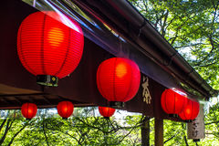 Japanese red lanterns Stock Image
