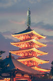 Japanese red pagoda in Asakusa temple Stock Image