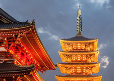 Japanese red pagoda and evening blue sky at Sensoji Asakusa Stock Photo