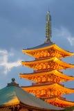 Japanese red pagoda and evening blue sky at Sensoji Asakusa Stock Images