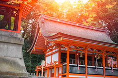Japanese Red Temple in Kyoto - Fushimi Inari Taisha Shrine.  Stock Images
