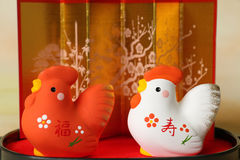 Japanese red and white new year cocks Stock Photo