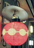 Japanese red and yellow lantern stock photo