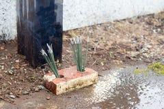 Japanese religious incense stick burning Royalty Free Stock Photography