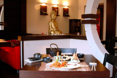 Japanese restaurant. Complex dinner at the Japanese restaurant stock photography