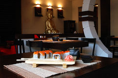 Japanese restaurant. Complex dinner at the Japanese restaurant royalty free stock photos