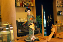 Japanese restaurant, Kabuki. Interior and menu japanese restaurant royalty free stock image