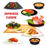 Japanese restaurant lunch dishes of asian cuisine. Assortment of seafood sushi and sashimi, grilled salmon with teriyaki sauce, miso soup with shrimp, egg roll Stock Photo