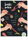 Japanese restaurant menu template with hands holding appetizing sushi, sashimi and rolls with chopsticks on black. Background. Realistic hand drawn vector vector illustration