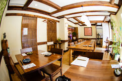 Japanese restaurant. Modern japanese restaurant photographed with a fish-eye lens royalty free stock photo