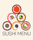 Japanese restaurant sushi menu logo template. Asian menu with roll, vector illustration Stock Photography