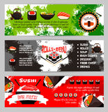 Japanese restaurant sushi menu vector banners set. Sushi menu banners for Japanese cuisine restaurant. Vector set of fish rolls, seafood noodles or salmon maki Stock Photography