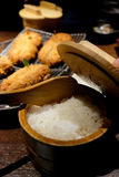 Japanese rice in antique style container Stock Images