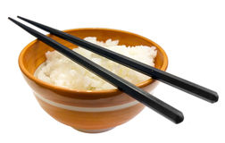 Japanese rice bowl and chopsticks Royalty Free Stock Image