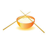 Japanese rice bowl with sticks vector Stock Photo