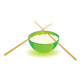Japanese rice bowl with sticks vector illustration part two Royalty Free Stock Photo