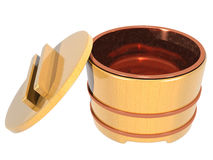 Japanese rice container open metal inside Royalty Free Stock Images