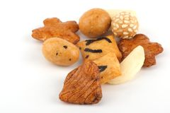 Japanese rice crackers. Heap of Japaneses style rice cookies Royalty Free Stock Photography