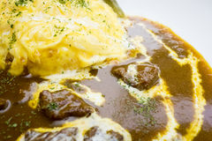 Japanese rice curry with omelette beef. Royalty Free Stock Images