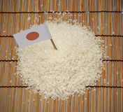 Japanese rice and japan flag. Is east asia culture Stock Photos