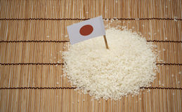 Japanese rice and japan flag Royalty Free Stock Photo