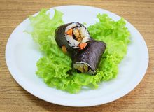 Japanese Rice Maki Sushi Roll Stuff with Tofu and Carrot Stock Photos