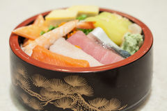 Japanese Rice with sashimi on top Stock Image