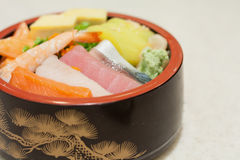 Japanese Rice with sashimi on top Royalty Free Stock Photography