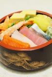 Japanese Rice with sashimi on top Royalty Free Stock Photos