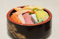 Japanese Rice with sashimi on top Stock Photography