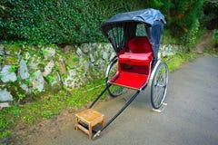 Japanese rickshaw at the bamboo forest of Arashiyama Royalty Free Stock Photography