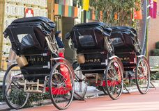 Japanese rickshaws in the traditional neighbourhood of Asakusa in Tokyo, 2018 royalty free stock photography