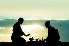 Japanese ritual of the tea ceremony. Illustration of Japanese ritual of the tea ceremony Stock Photo