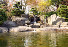 Japanese Rock Garden. With small waterfall Stock Image
